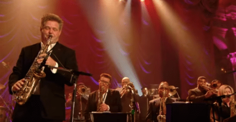 Derek Nash playing with the Jools Holland Orchestra