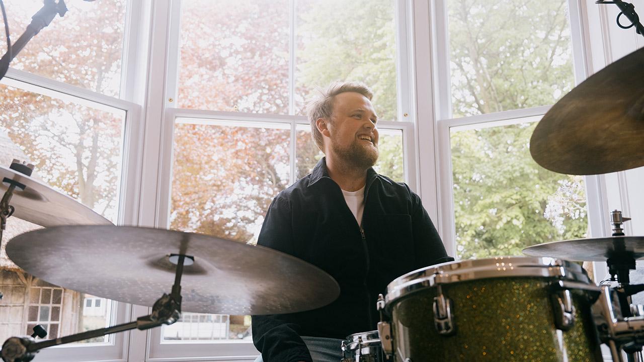 Lewis Jenkins at his drum set