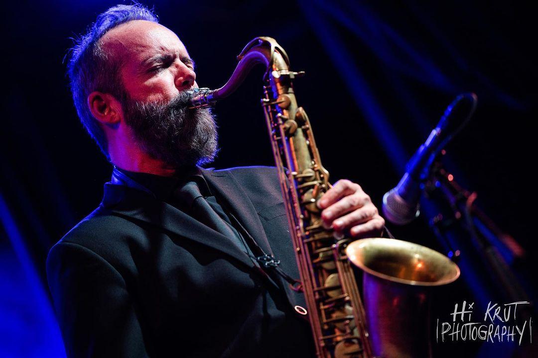 Scott Gilman plays saxophone